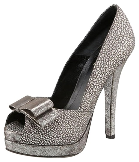 Fendi Deco Crackled Suede Silver/Pewter Pumps