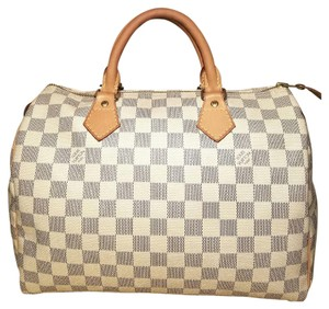 Louis Vuitton Speedy 30 Lock & Key Satchel in Damier Azur
