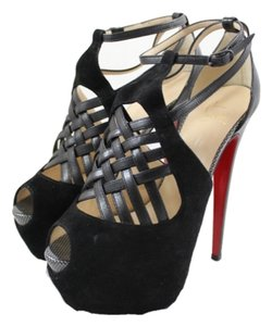 Christian Louboutin Carlota 160mm Leather Suede Ultra High Black Platforms