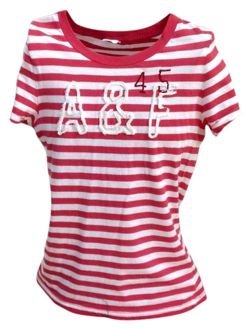 Preload https://img-static.tradesy.com/item/17168707/abercrombie-and-fitch-coralwhite-tee-shirt-size-12-l-0-1-650-650.jpg