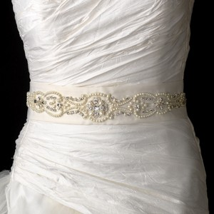 Elegance By Carbonneau Ivory Beaded Pearl Wedding Dress Belt Sash