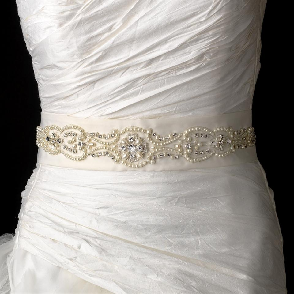 Elegance by carbonneau ivory beaded pearl wedding dress for Ivory wedding dress belt