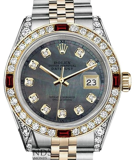 Preload https://img-static.tradesy.com/item/17169448/rolex-ladies-steel-and-gold-26mm-datejus-black-mop-dial-ruby-and-diamond-watch-0-1-540-540.jpg