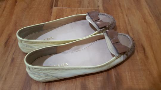 Prada Ombre Patent Leather Bow beige Flats