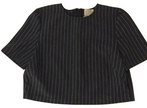 Torn by Ronny Kobo Crop Pinstripe Top Grey