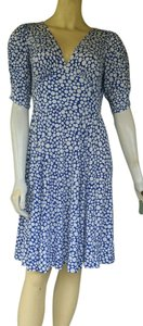 London Times short dress Blue Slinky Ruched Sleeves Pull-on on Tradesy