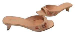 Prada Embroidered Flowers Peach real silk Mules