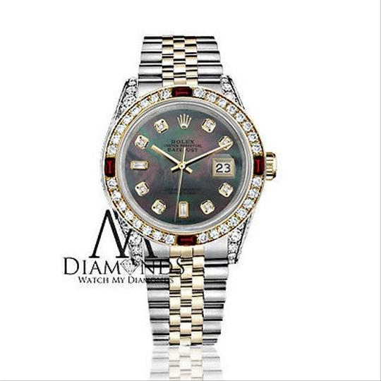Rolex Ladies Rolex Steel & Gold 26mm Datejust MOP 8+2 Dial Ruby Diamond Image 1