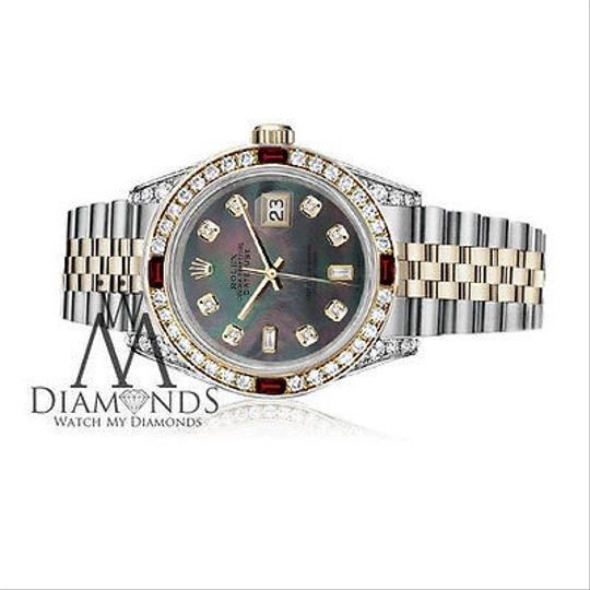 Rolex Ladies Rolex Steel & Gold 26mm Datejust MOP 8+2 Dial Ruby Diamond Image 2