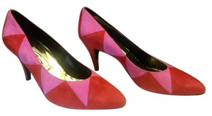 Genny Geometric Suede Italy Round Toe Pink, Red Pumps