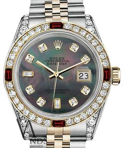 Rolex Women's Rolex Steel & Gold 31mm Datejust Watch Black MOP 8+2 Dial Ruby & Diamond Bezel