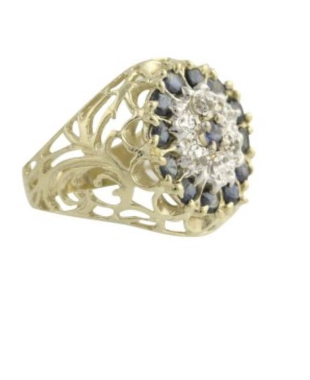 Other sapphire diamond 10k yellow gold cocktail ring Image 1
