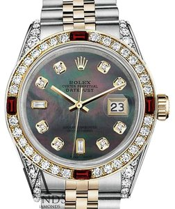 Rolex Rolex Steel & Gold 36mm Datejust Watch Black MOP 8+2 Dial Ruby & Diamond Bezel