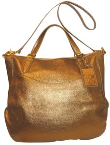 Ralph Lauren New Leather Gold Lined Convertible Hobo Bag