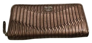 Coach Madison Gathered Leather Accordion Zippy Wallet 46481 in Bronze