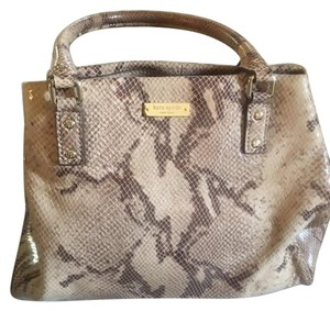 Kate Spade Stylish High Fashion Spacious Double Handles Satchel in Taupe and Brown Animal Print
