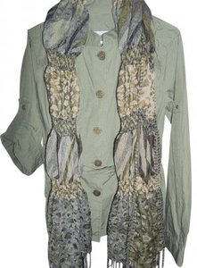 Maurices Scarf Belted Button Down Shirt Olive Green