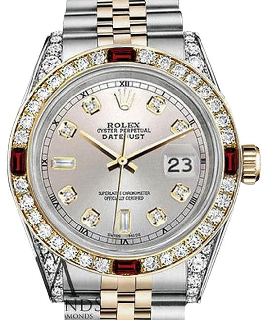 Rolex Women's Stainless Steel & Gold 31mm Silver Dial Ruby Diamond Watch Rolex Women's Stainless Steel & Gold 31mm Silver Dial Ruby Diamond Watch Image 1