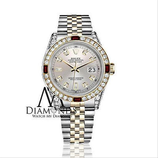 Rolex Women's Rolex Stainless Steel & Gold 31mm Silver Dial Ruby Diamond Image 1