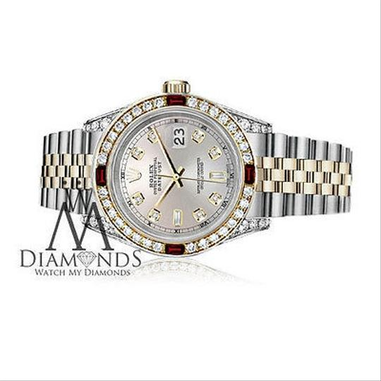Rolex Women's Rolex Stainless Steel & Gold 31mm Silver Dial Ruby Diamond Image 2