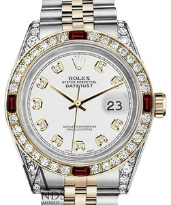 Rolex Ladies Rolex Stainless Steel & Gold 26mm Datejust Watch White Dial Ruby Diamond Bezel