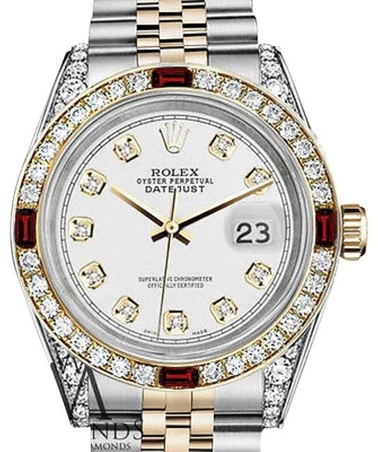 Rolex Women's Stainless Steel & Gold 31mm White Dial Ruby Diamond Watch Rolex Women's Stainless Steel & Gold 31mm White Dial Ruby Diamond Watch Image 1