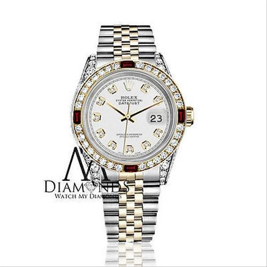 Rolex Women's Rolex Stainless Steel & Gold 31mm White Dial Ruby Diamond Image 1