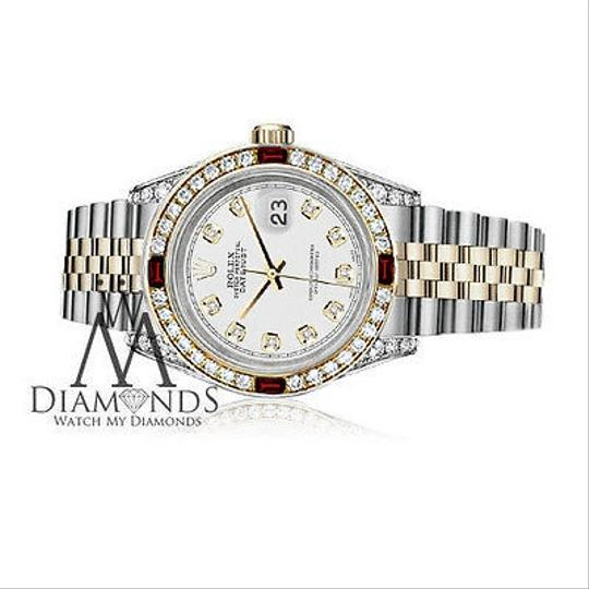 Rolex Women's Rolex Stainless Steel & Gold 31mm White Dial Ruby Diamond Image 2