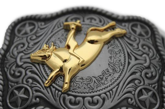 Alwaystyle4you New Men Women Antique Silver Western Rodeo Gold Bull Rider Belt Buckle Image 1