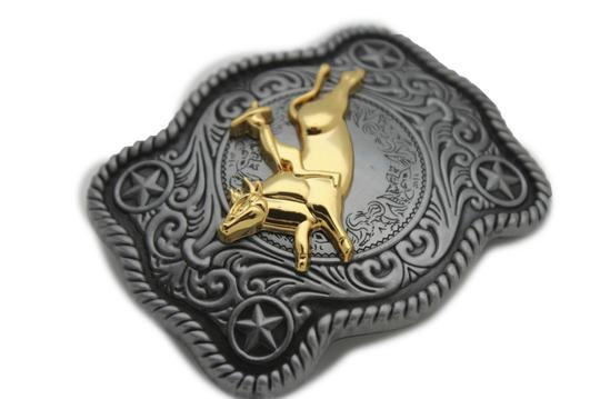 Alwaystyle4you New Men Women Antique Silver Western Rodeo Gold Bull Rider Belt Buckle Image 2