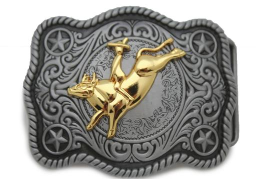 Alwaystyle4you New Men Women Antique Silver Western Rodeo Gold Bull Rider Belt Buckle Image 3