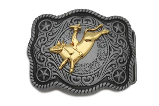 Alwaystyle4you New Men Women Antique Silver Western Rodeo Gold Bull Rider Belt Buckle Image 4