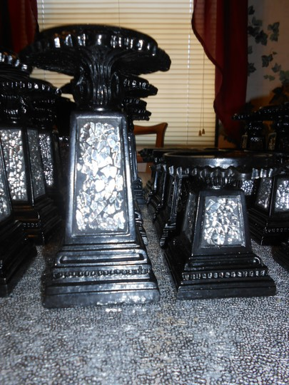 """Ten Sets Of Black Mosaic Candlesticks 7"""" And 4"""""""