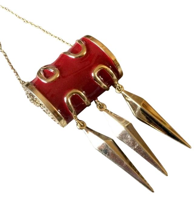 Item - Red W Burgundy Barrel Long Gold Spikes Necklace