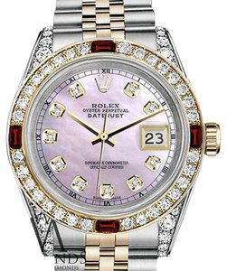 Rolex Women's Rolex Stainless Steel & Gold 31mm Pink MOP Dial Ruby Diamond
