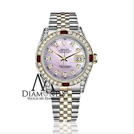 Rolex Women's Rolex Stainless Steel & Gold 31mm Pink MOP Dial Ruby Diamond Image 1