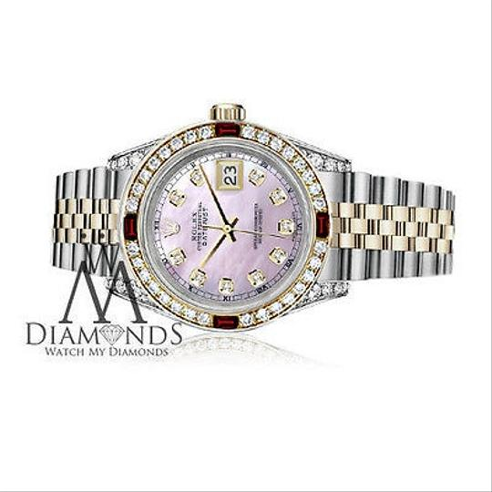 Rolex Women's Rolex Stainless Steel & Gold 31mm Pink MOP Dial Ruby Diamond Image 2