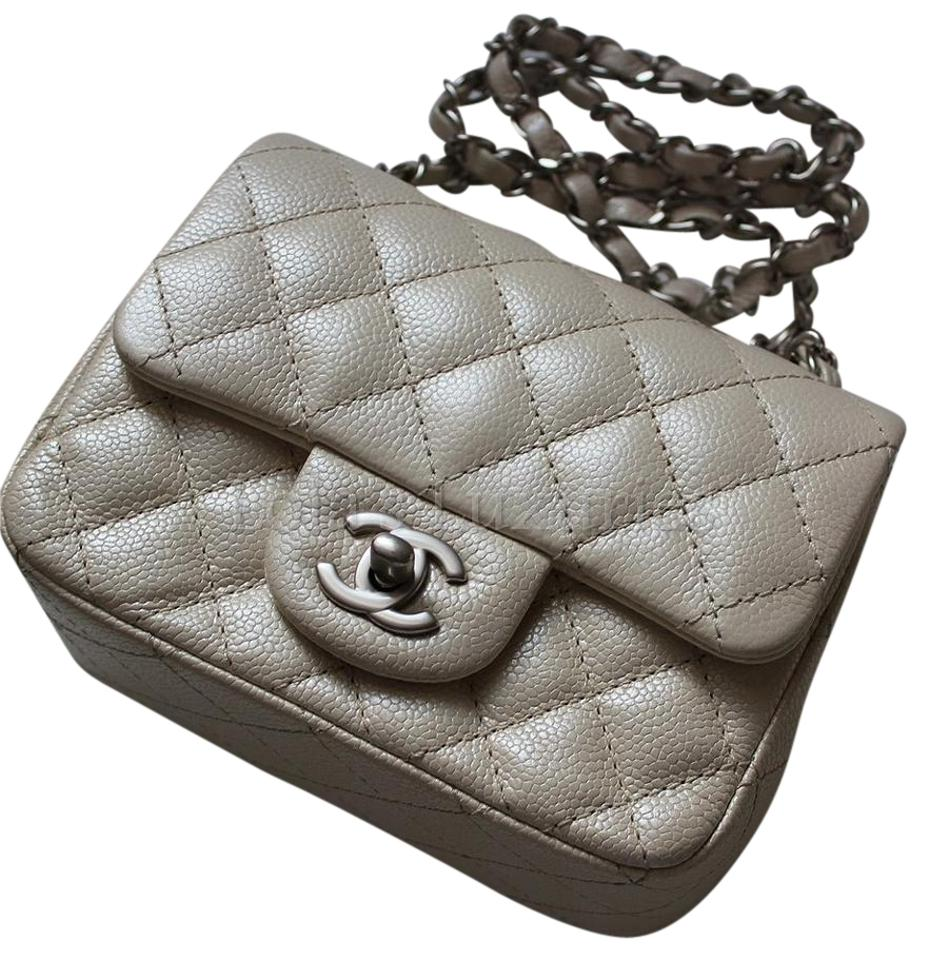 9e3454af83f825 Chanel Pearly Caviar Classic Quilted Square Mini Flap Silver Hw ...