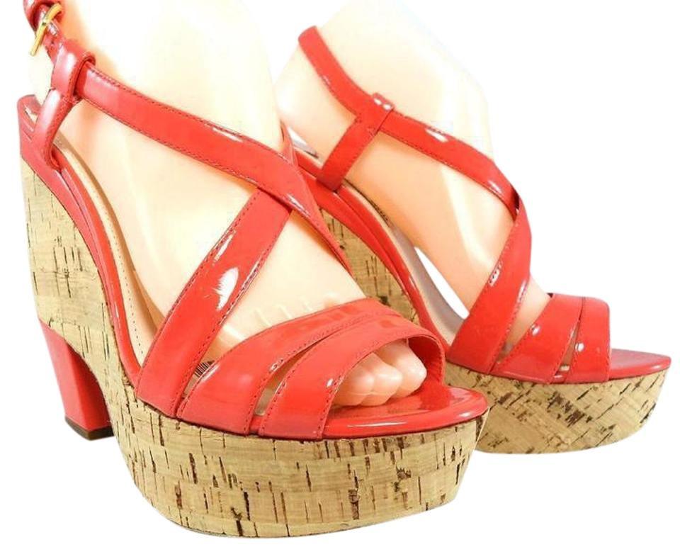 Miu Miu Coral By Strappy Prada Leather Cork Wedge Strappy By Sandals Slingback Platforms 57de30