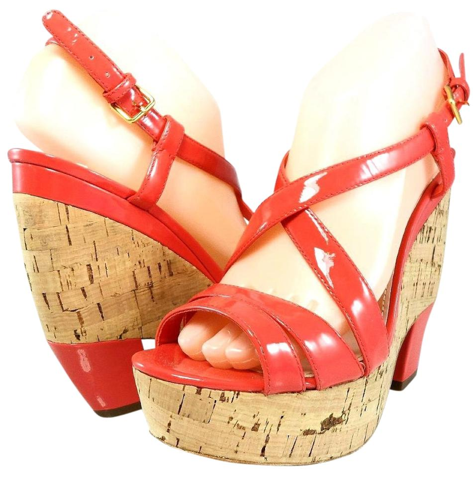 4d72aa3dacd Miu Miu Coral By Prada Leather Cork Wedge Strappy Sandals Slingback ...