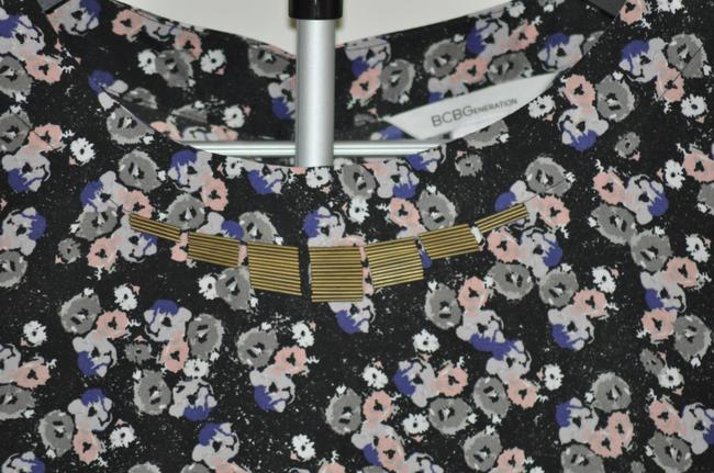 BCBGeneration Flower High-low Beaded Buttons Gold Black Top Black Print