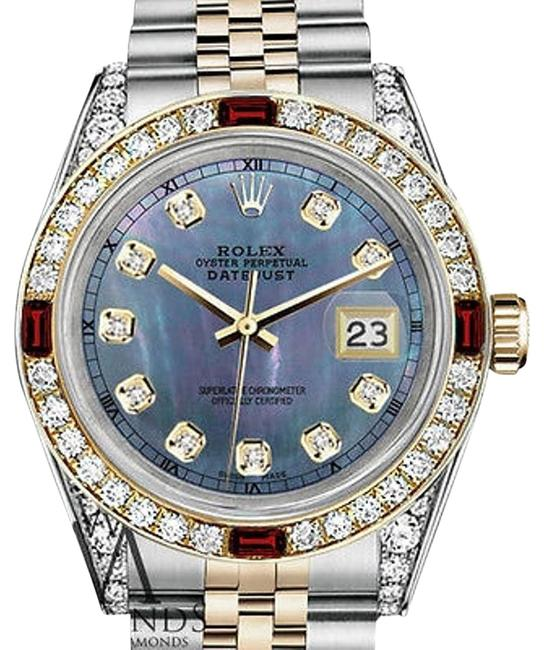 Rolex Women's Steel & Gold 31mm Datejust Tahitian Mop Ruby Diamond Watch Rolex Women's Steel & Gold 31mm Datejust Tahitian Mop Ruby Diamond Watch Image 1