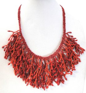 Ali-Khan Stunning c.A.K.e by Ali Khan Red Cluster Bead Drop Statement Necklace, New without tags