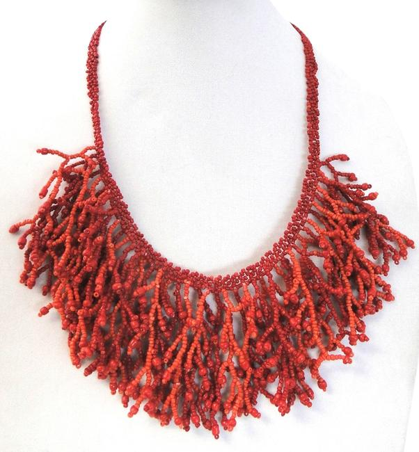 Item - Red Stunning C.a.k.e By Cluster Bead Drop Statement New Without Tags Necklace