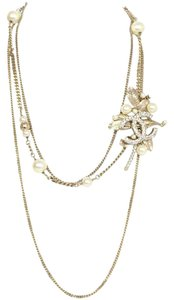Chanel Gold Chain LEAF Pearl Triple Strand Crystal CC Logo Flower Camellia