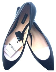 Mango Leather Black Flats