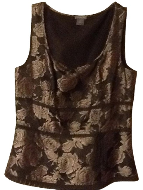 Ann Taylor Top Brown with cream flowers