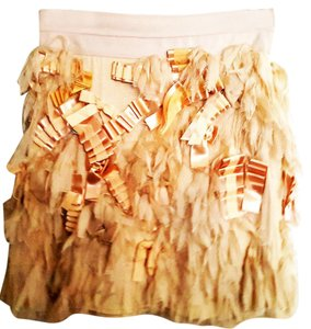 Alice + Olivia Ruffle Mini Spring Chiffon Mini Skirt Beige