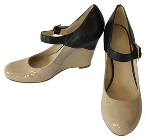 Nine West Patent Leather Mary Jane Black and Tan Wedges