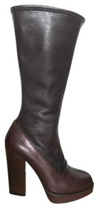 Prada Two-tone Leather Brown Boots